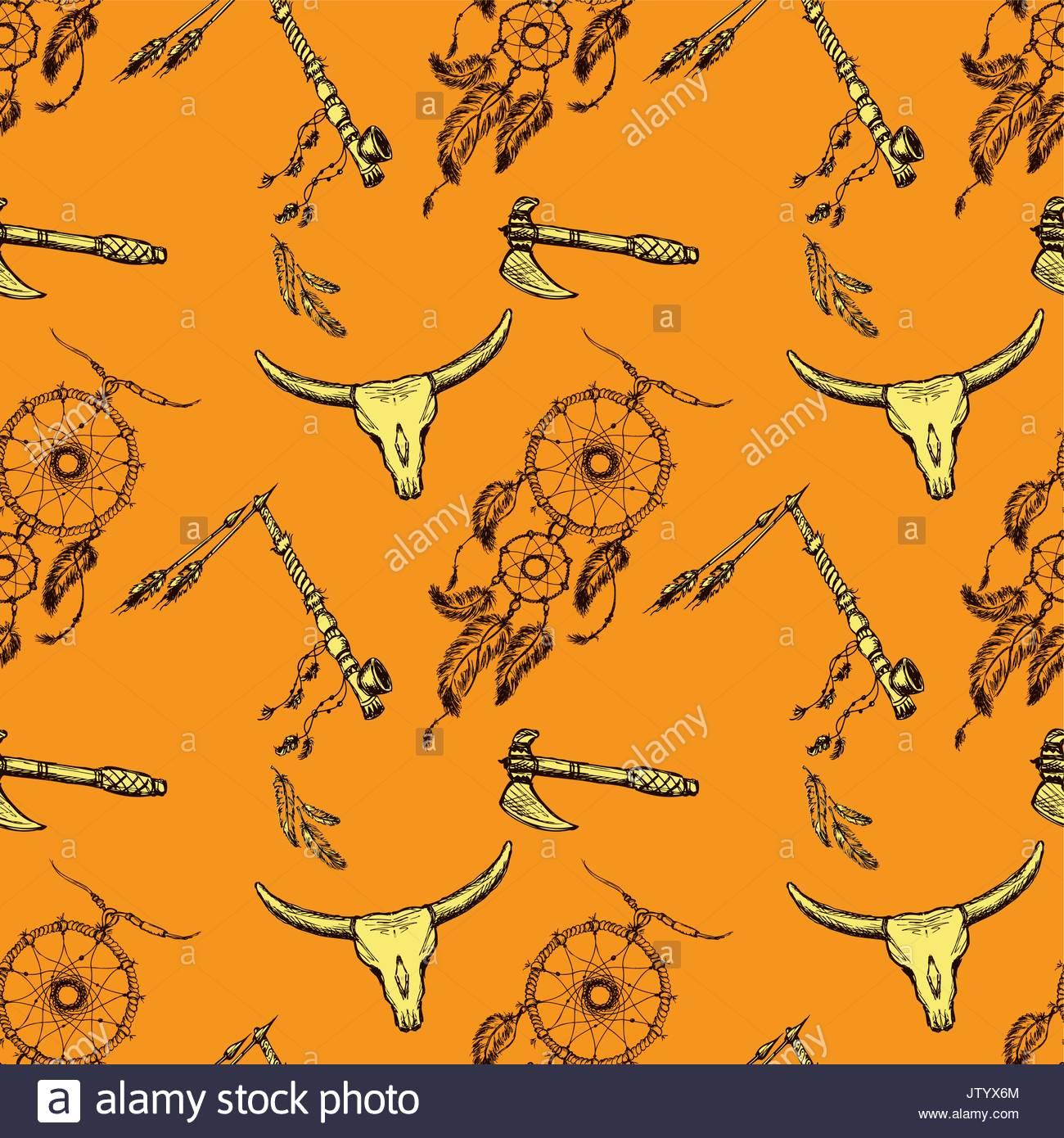 1300x1390 Seamless Pattern Native American Symbols. Hand Drawing.seamless