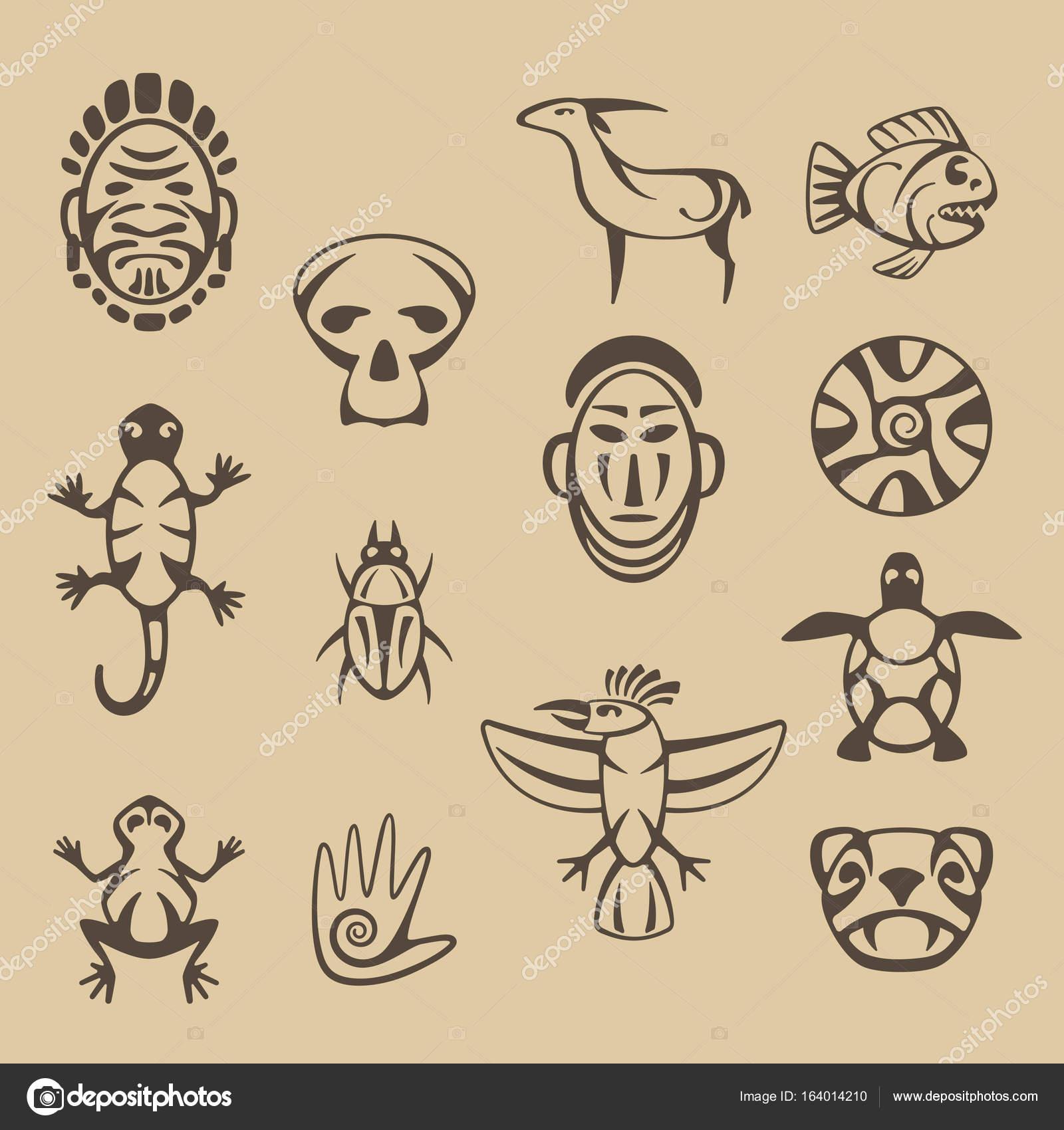 1600x1700 Set Of Stylized Native American Symbols Stock Vector Dmitry375