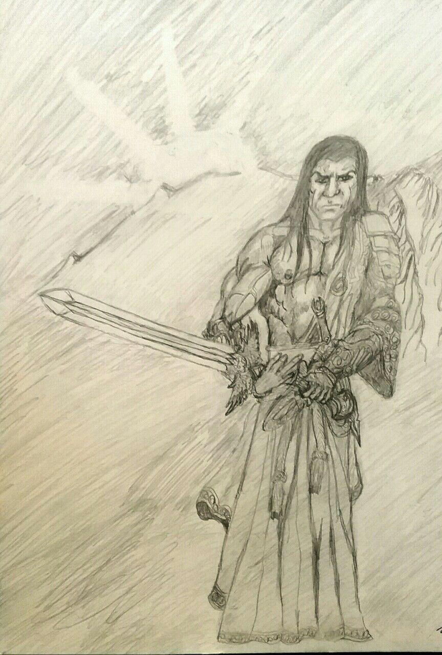 864x1280 A John Morales Drawing Of A Fantasy Native American Warrior