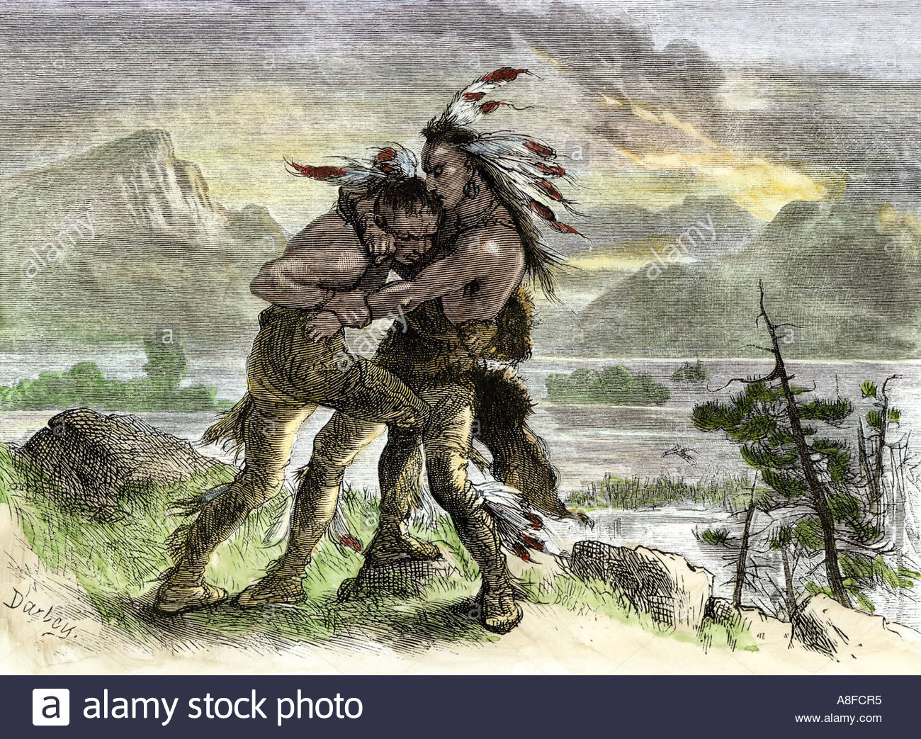 1300x1043 Hiawatha Locked In Combat With Another Native American Warrior