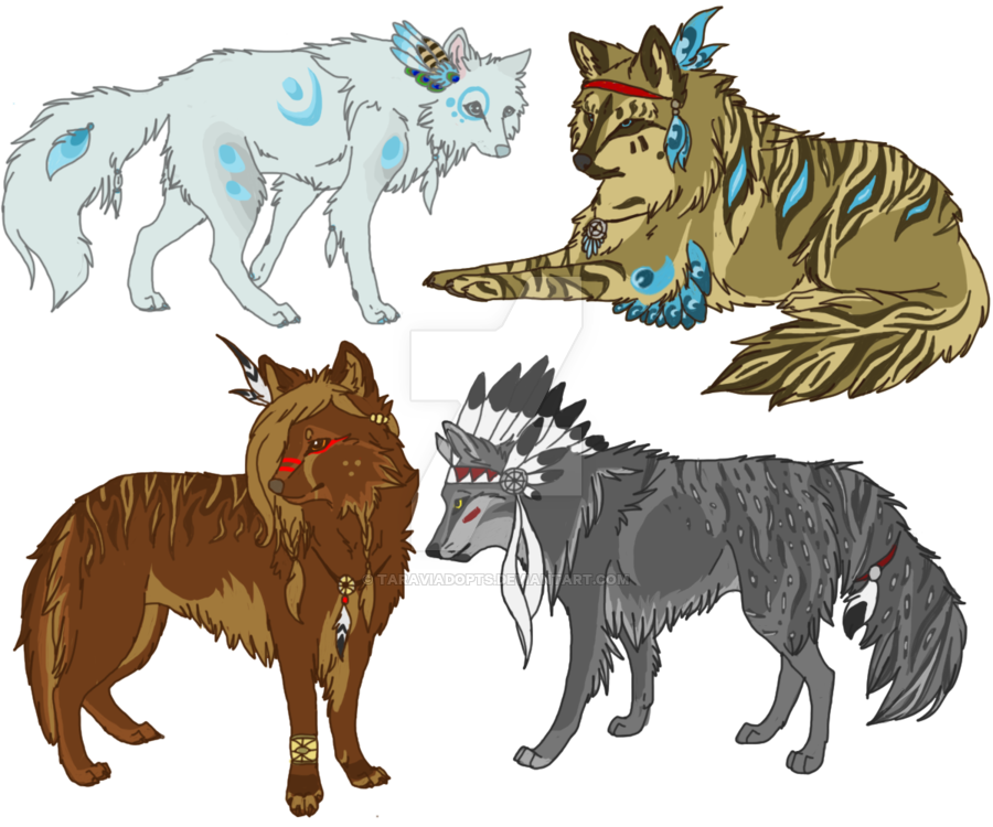 900x750 Native American Indian Wolf Adoptables (Closed) By Taraviadopts