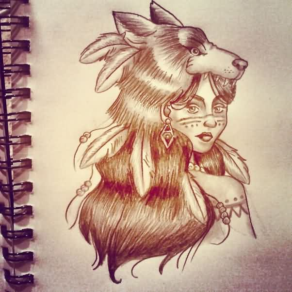 602x603 Native American Wolf Girl Tattoo Design