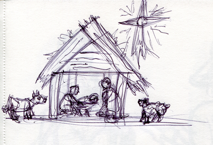 720x491 Pencil Drawing Nativity Drawing Merry Christmas Amp Happy New Year