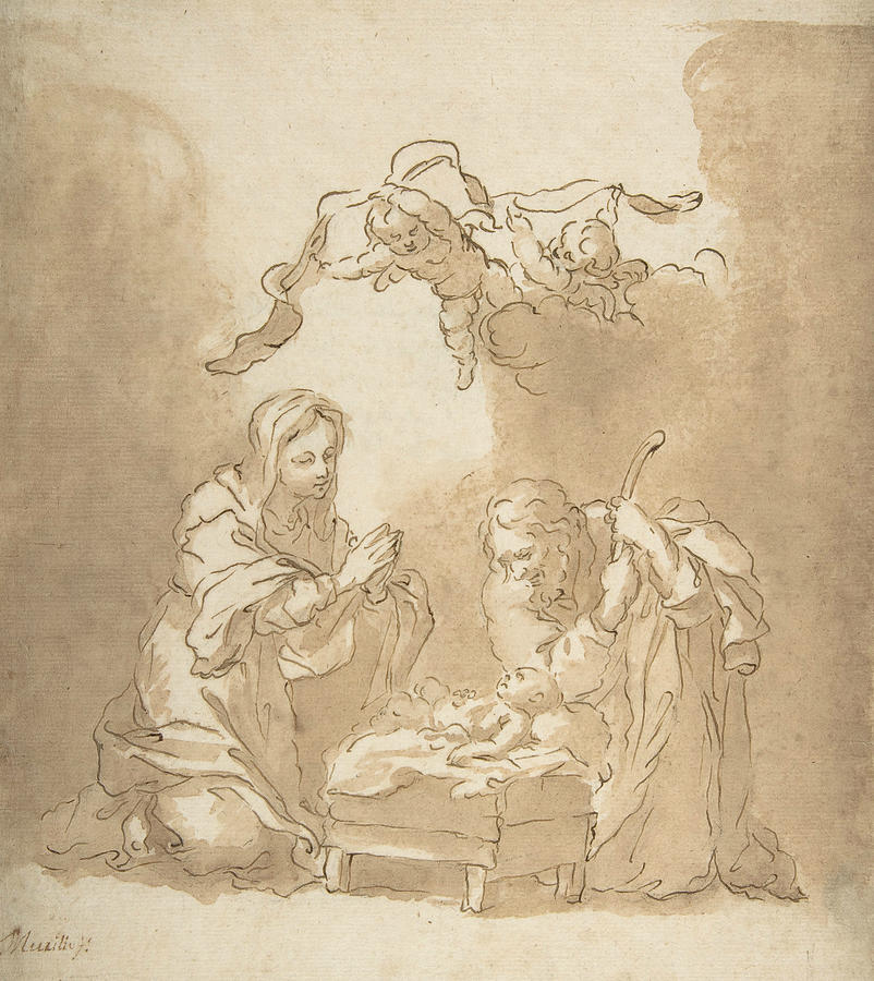 802x900 The Nativity Drawing By Bartolome Esteban Murillo
