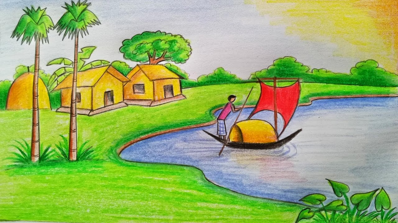 1280x720 Natural Drawing Art How To Draw A Village Scenery Stepstep (Very