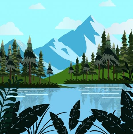 465x468 Natural Landscape Drawing Mountain Lake Trees Decoration Vectors