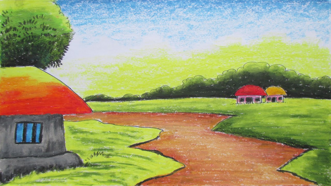 1280x720 Village Landscape Drawings Easy Natural Drawing Picture How