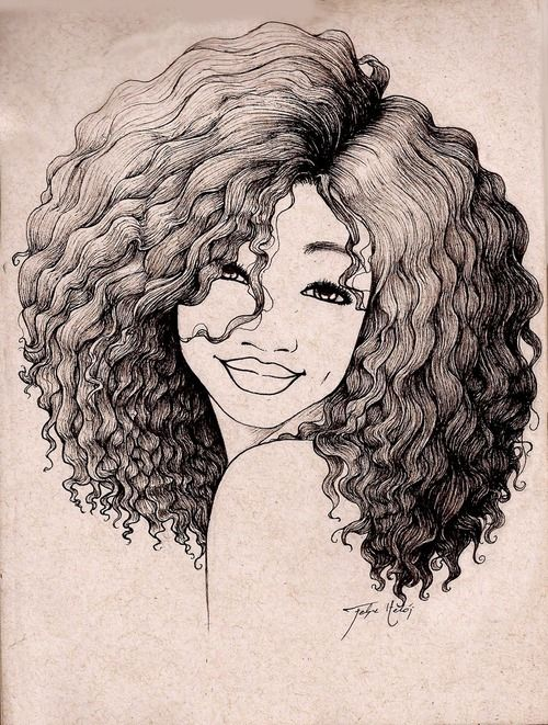 500x661 Similiar Drawing Girl With Curly Natural Hair Keywords Drawings