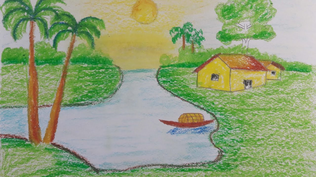 1280x720 How to Draw a Village Scenery With Oil Pastel Step by Step (very