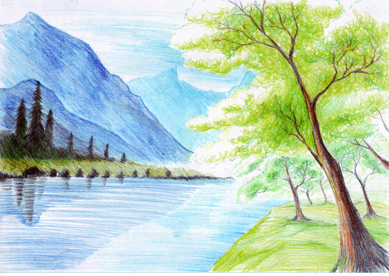 Natural Scenery Drawing At Getdrawings Com Free For Personal Use