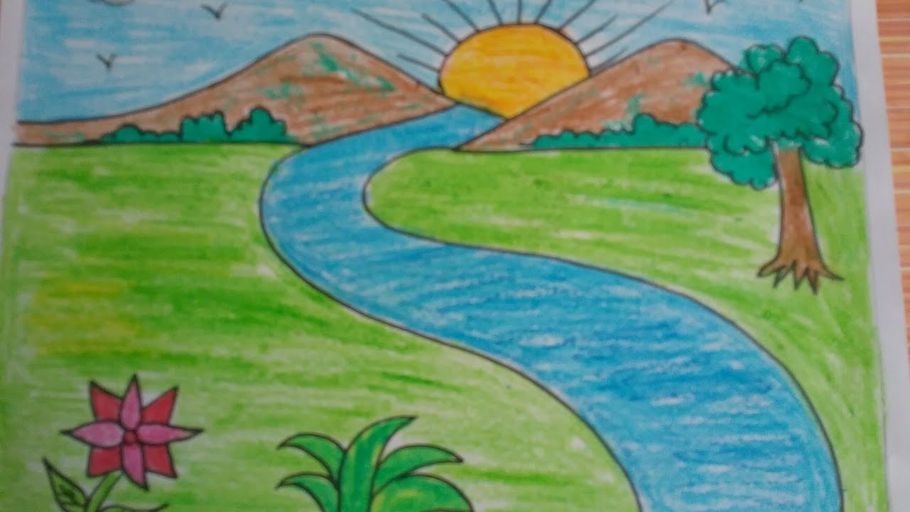 1280x720 Nature Drawing Color Easy For Kids How To Draw A Landscape