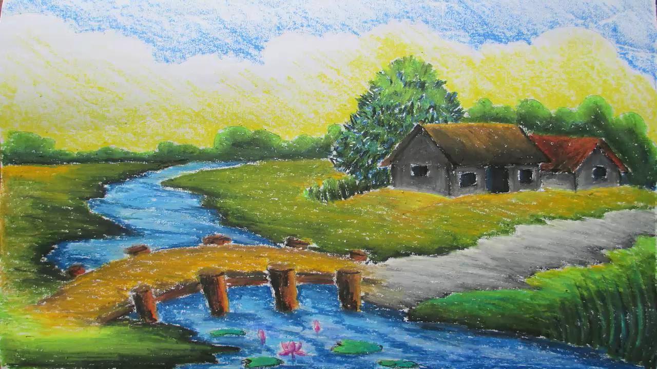 1280x720 Pastel Nature Drawings Beautiful Village Nature Drawing