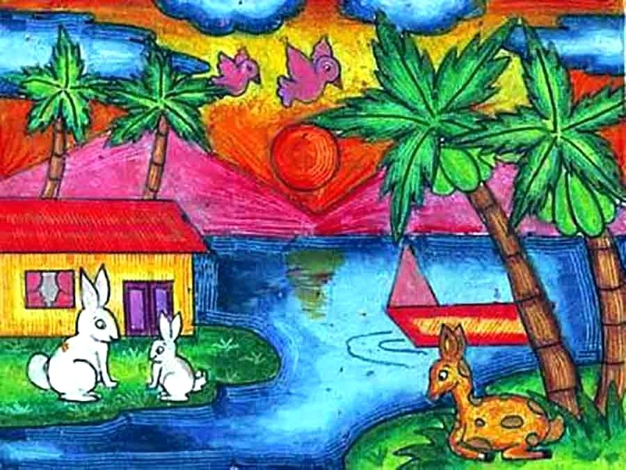 900x675 simple landscape drawing for kids pin drawn child scenery 8 simple