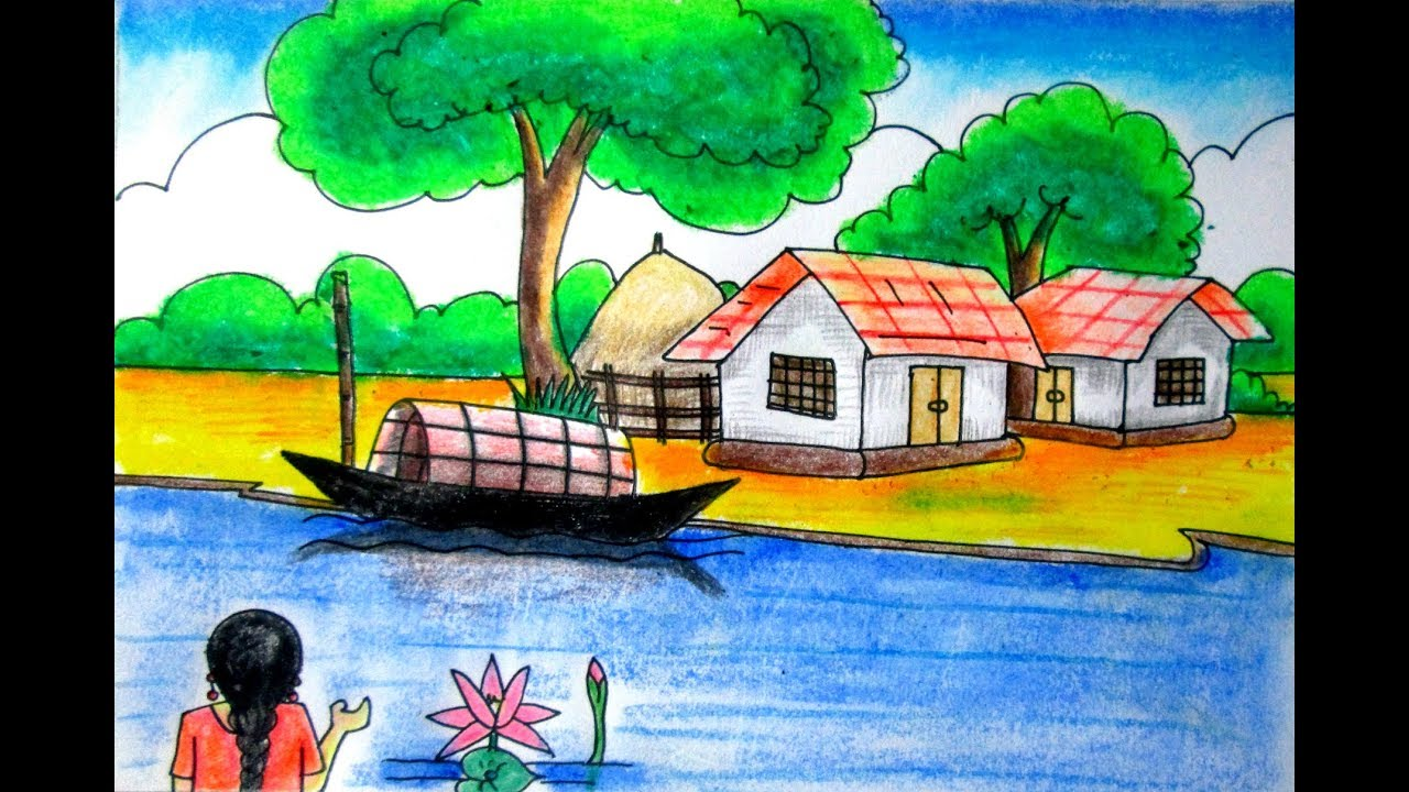 1280x720 Riverside Scenery Landscape For Beginners Village Scenery Drawing