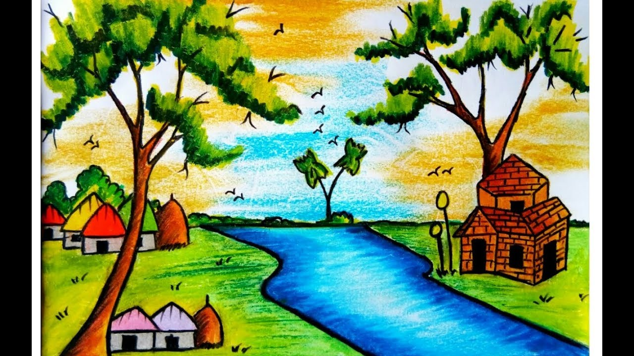 1280x720 How To Draw A Scenery Of Nature With Pastel Colour (Very Easy