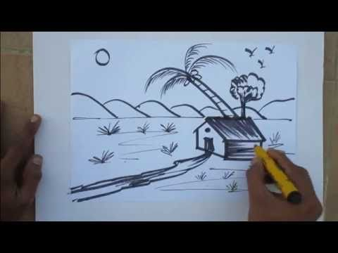 480x360 Village Nature Scenery Drawing Easy Tutorial For Kids