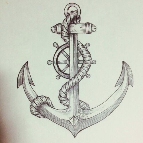500x500 Anchor Amp Helm Drawing Art Anchor Amp Compass