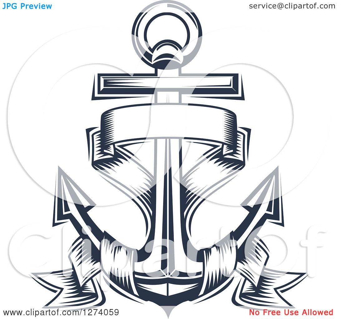 1080x1024 Clipart Of A Navy Blue Nautical Anchor And Banner 4