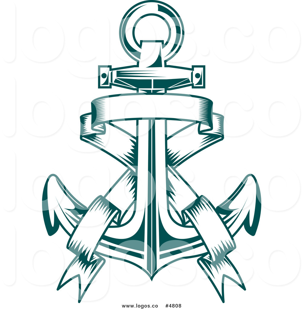 1024x1044 Royalty Free Vector Of A Teal Anchor And Banner Logo By Vector