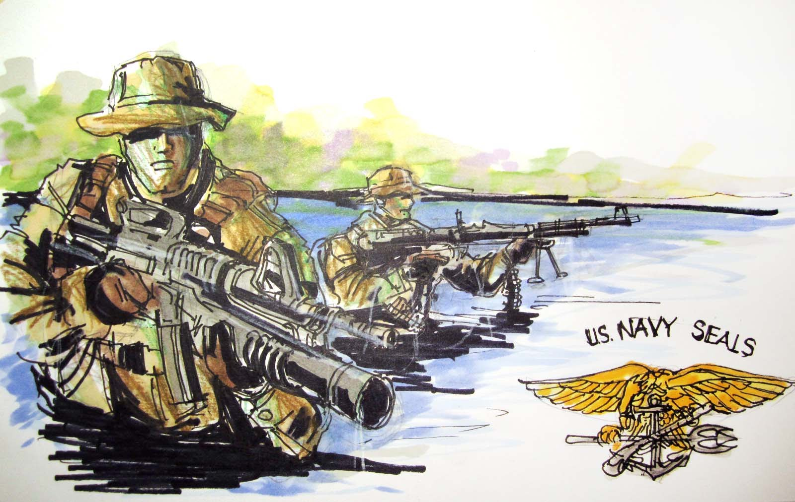 1600x1012 Military Series U.s. Navy Seals Time Lapse Drawing