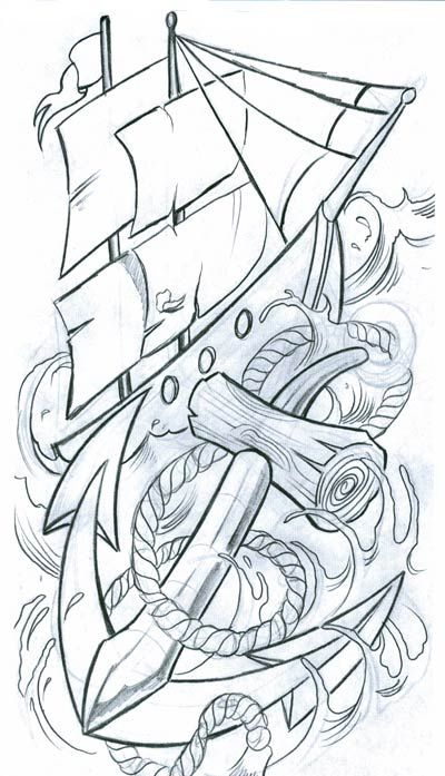 400x697 Navy Drawings Anchored Ship Othe Misc Tattoo Design, Art, Flash