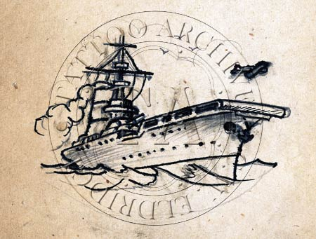 450x341 Ship Drawings Navy Tattoo Carrier Tattoo Design With Airplane By