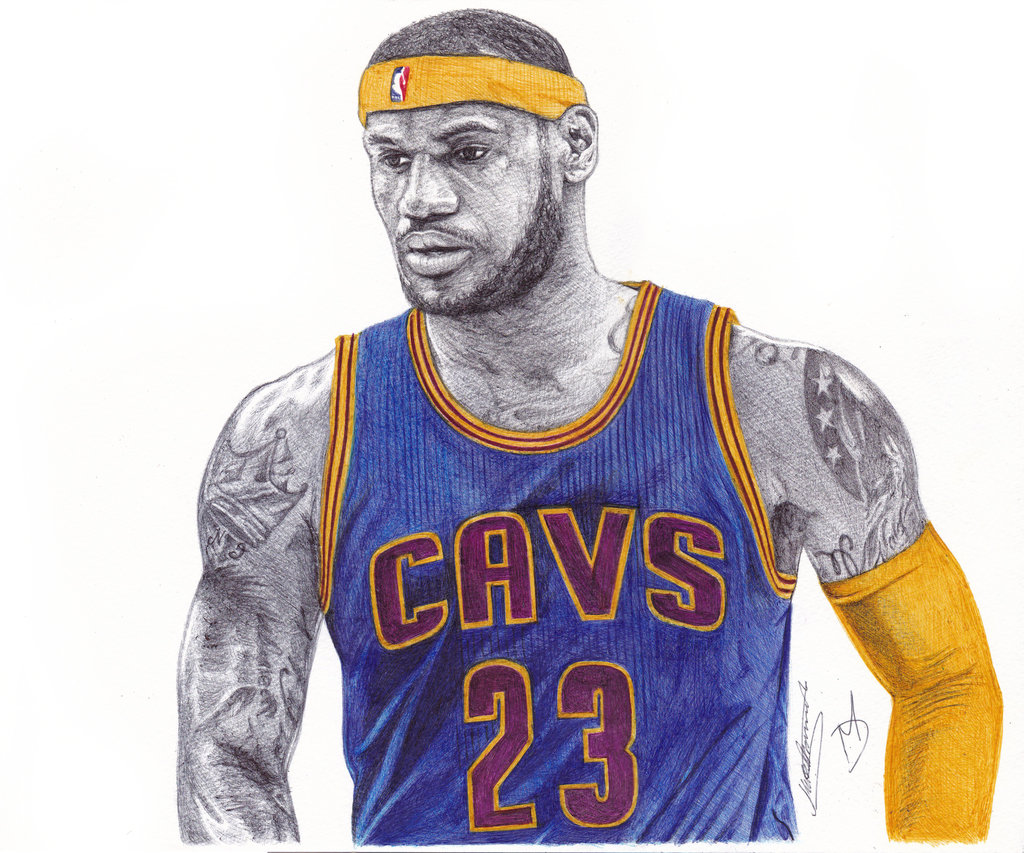 1024x853 Lebron James Ballpoint Pen Drawing By Demoose21