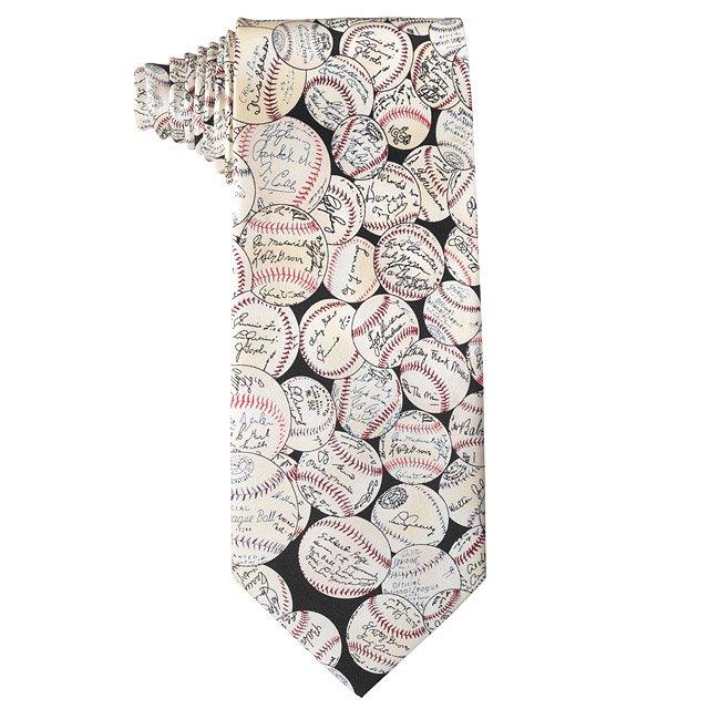 640x640 Baseball Signature Tie Baseball Tie, Sports Tie, Cream And Tan