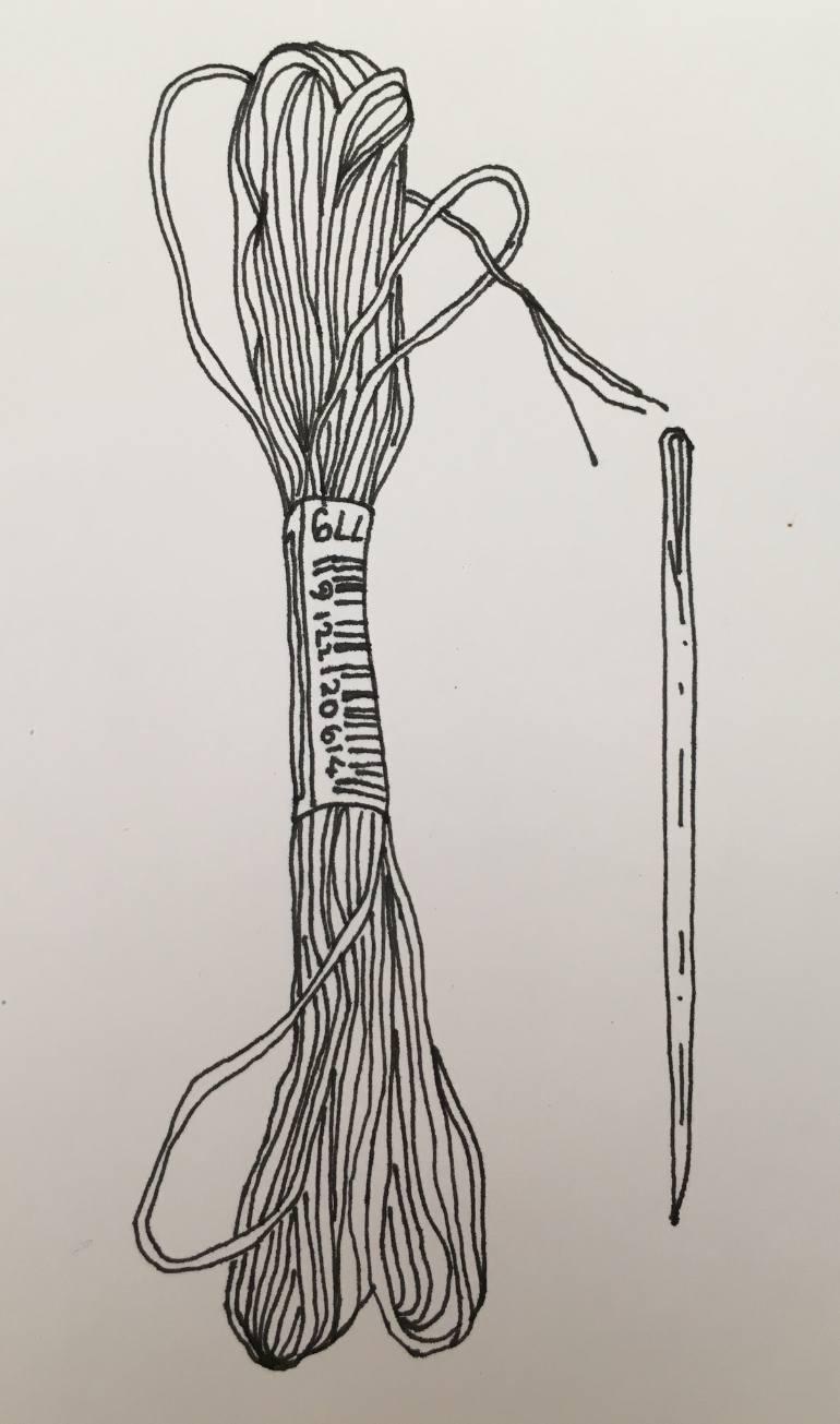 770x1305 Saatchi Art Needle And Thread Drawing By Chris Jones