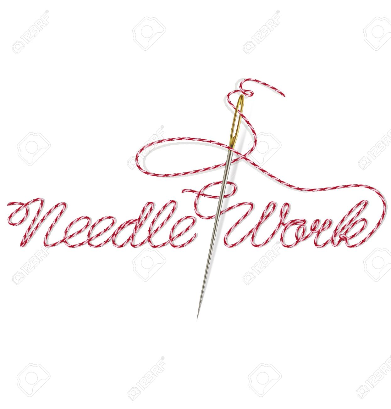 1244x1300 Sewing Needle With Red Thread Needle Work. Vector Illustration