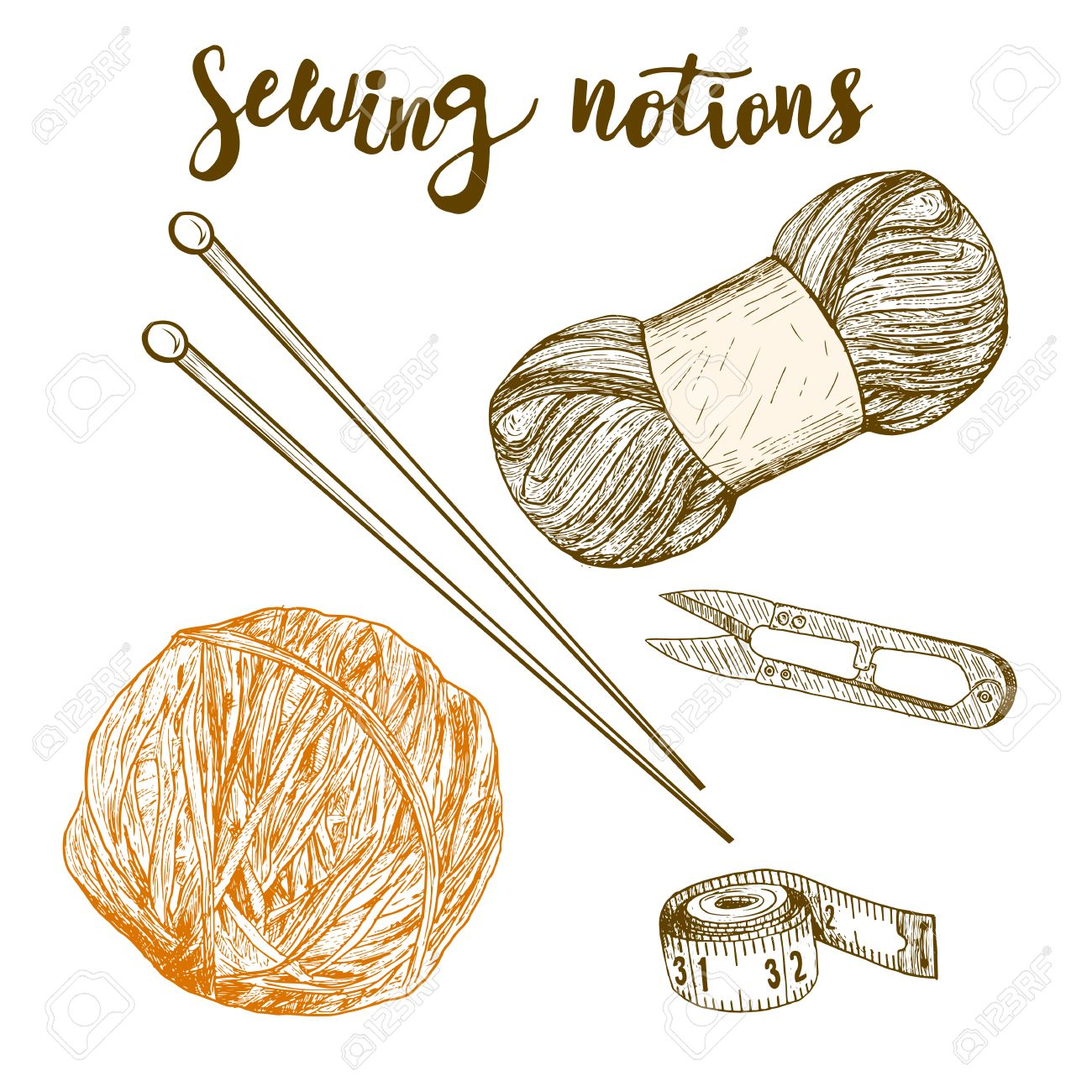 1300x1300 Sewing Notions. Hand Drawn Thread, Needle, Scissors, Ball