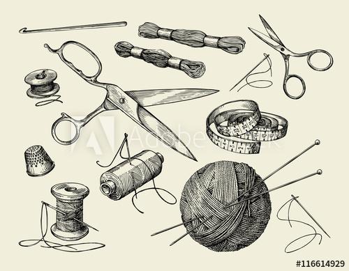 500x389 Sewing Notions. Hand Drawn Thread, Needle, Scissors, Ball Of Yarn