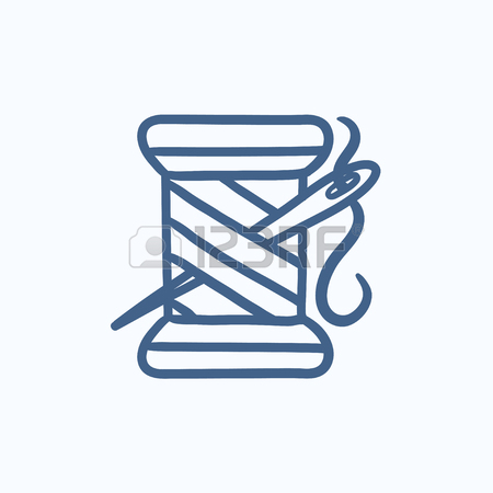 450x450 Spool Of Thread And Needle Vector Sketch Icon Isolated