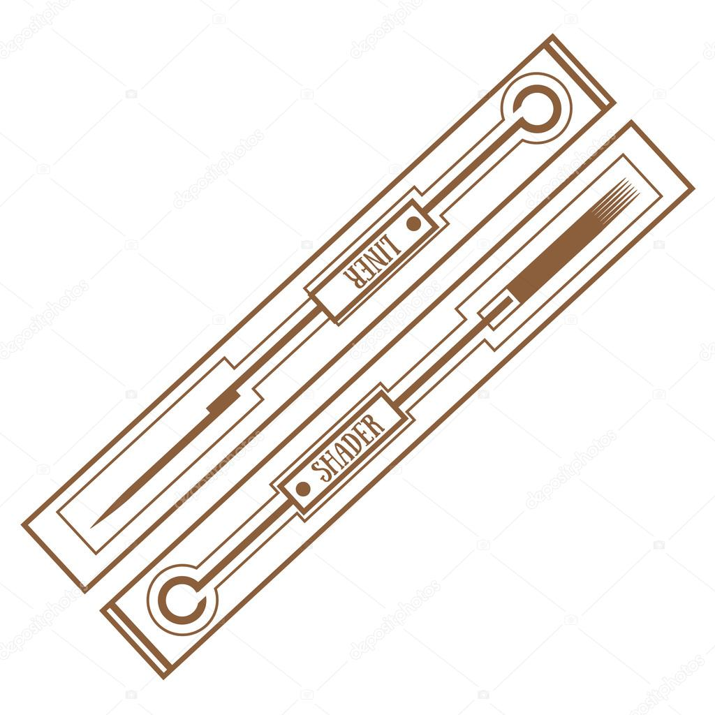 1024x1024 Tattoo Needles. Tattoo Accessory. Outline Drawing. Stock Vector