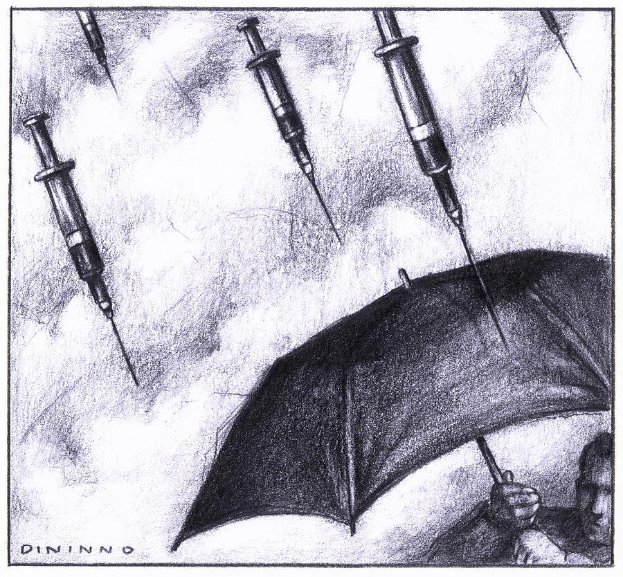 900x834 Raining Needles Drawing By Steve Dininno