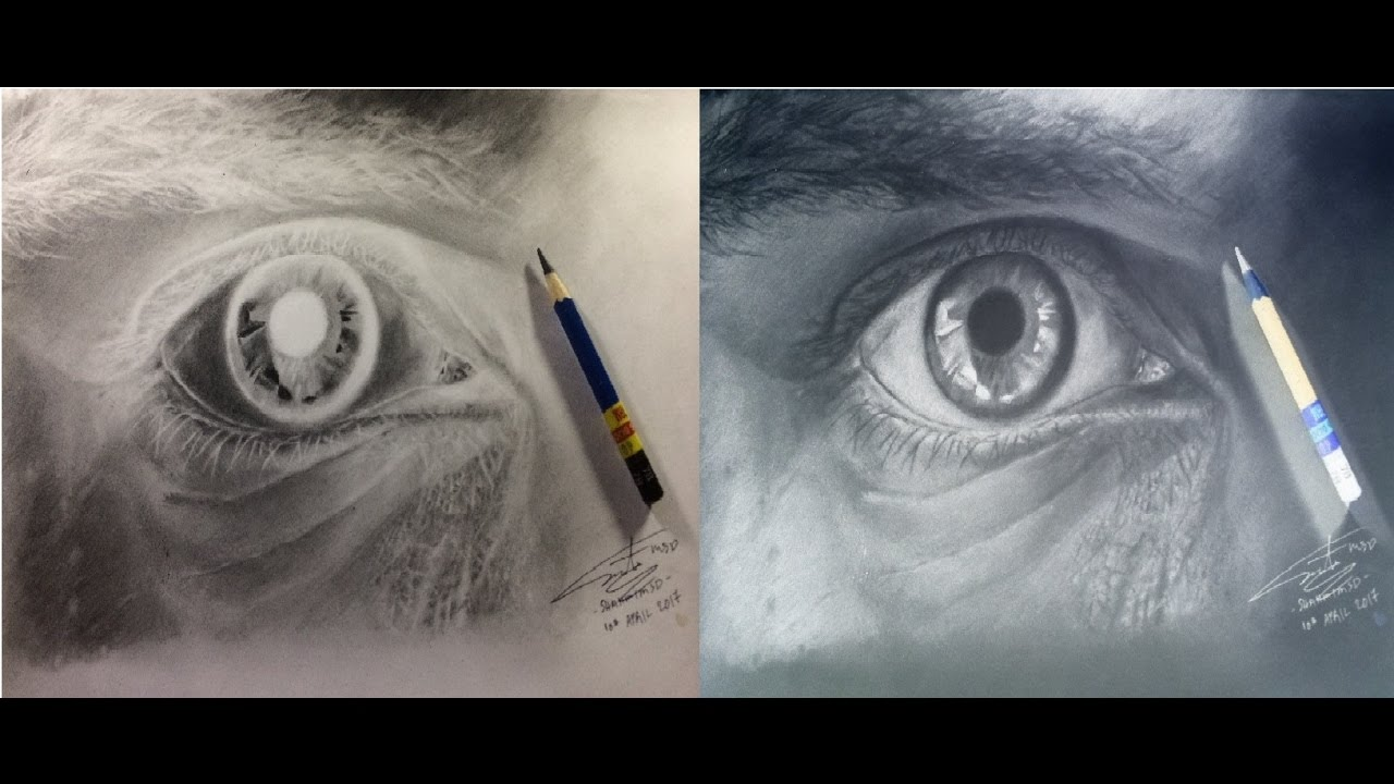 1280x720 Timelapse Negative Drawing Of An Eye