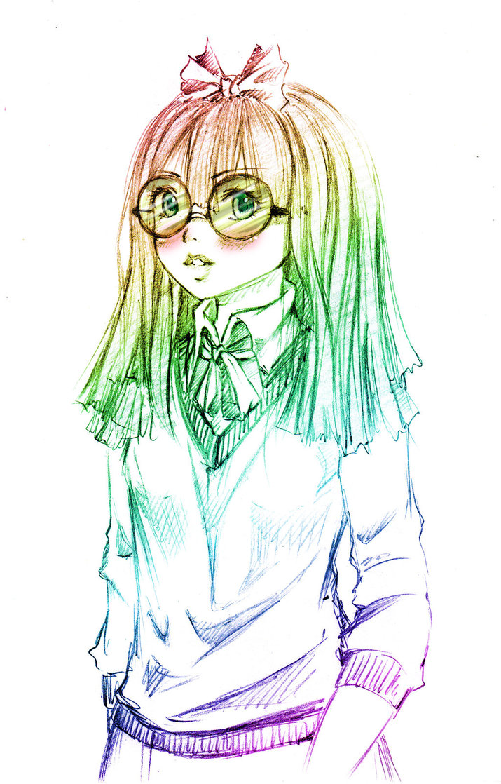 Nerdy Girl Drawing at GetDrawings.com | Free for personal use Nerdy ...