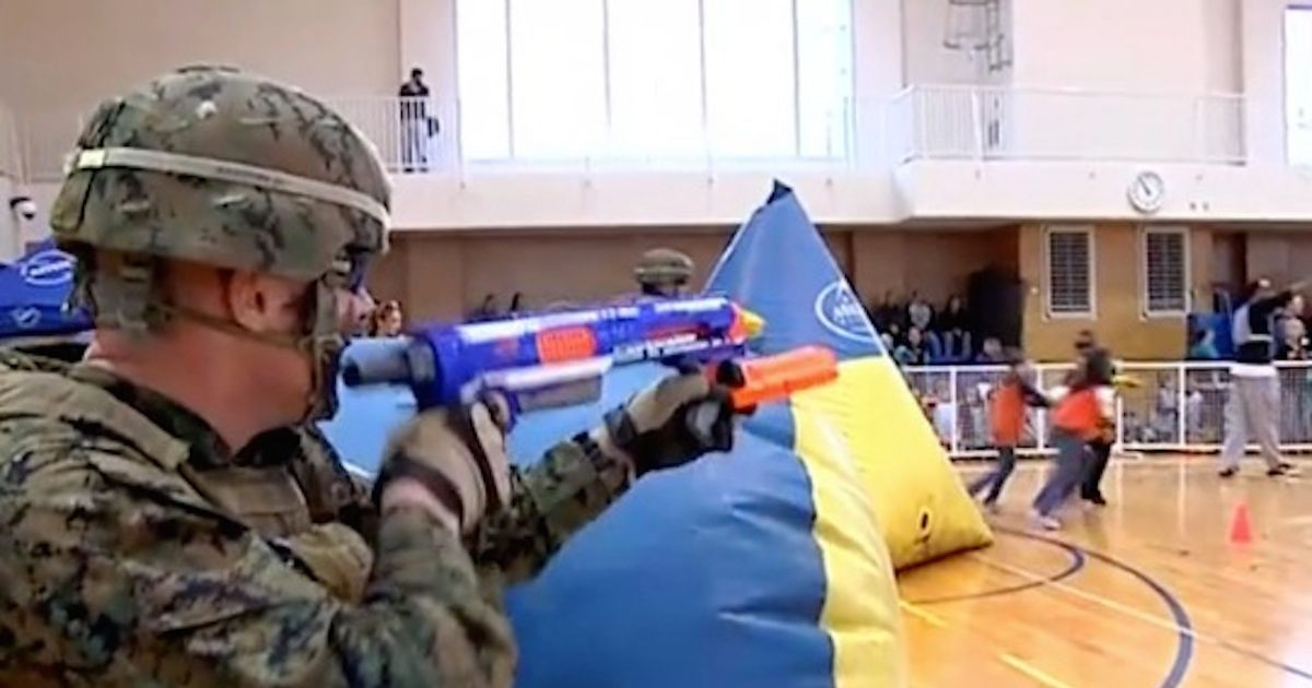 1200x630 Fully kitted up Marines take on school kids in epic NERF gun