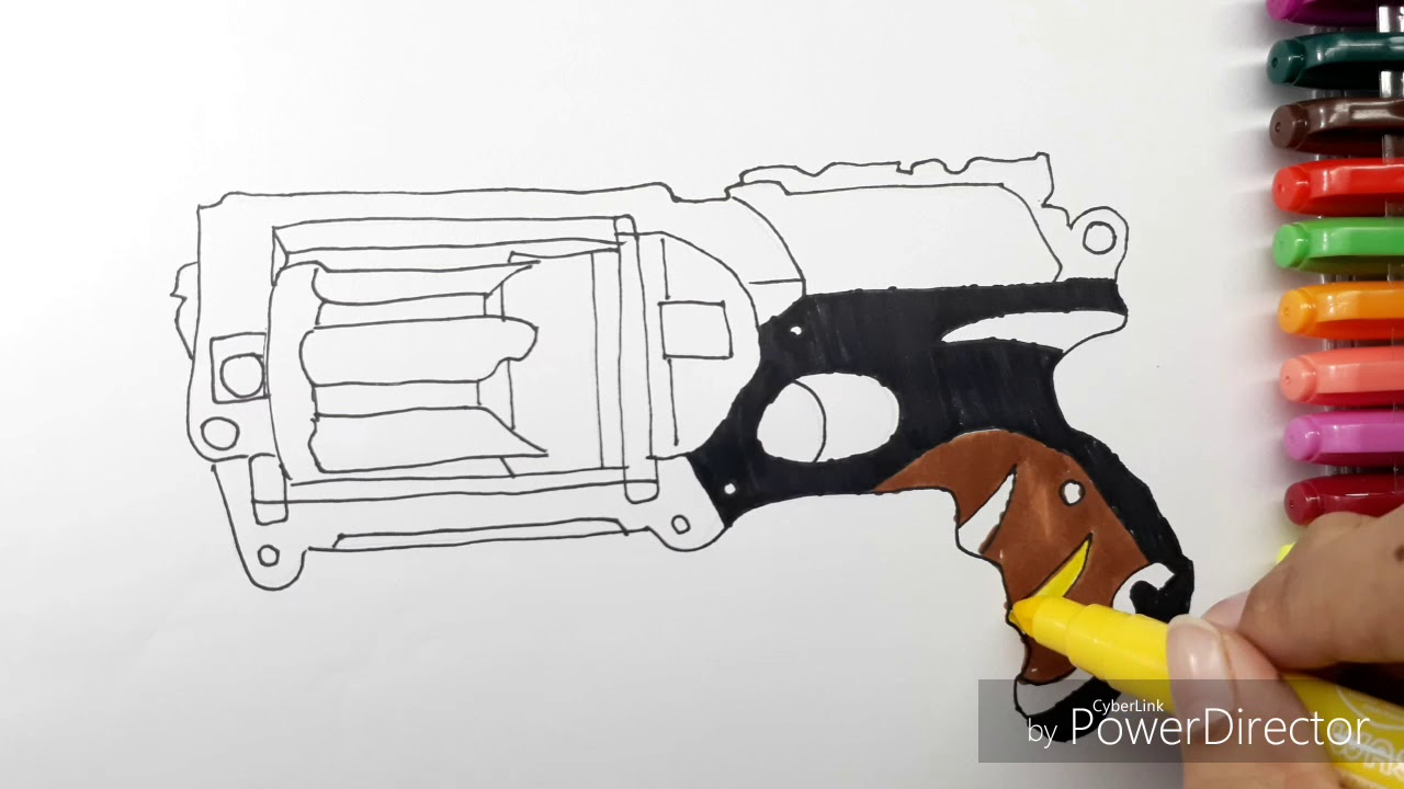 1280x720 How to draw Nerf Gun Coloring Book Learning Coloring Page For