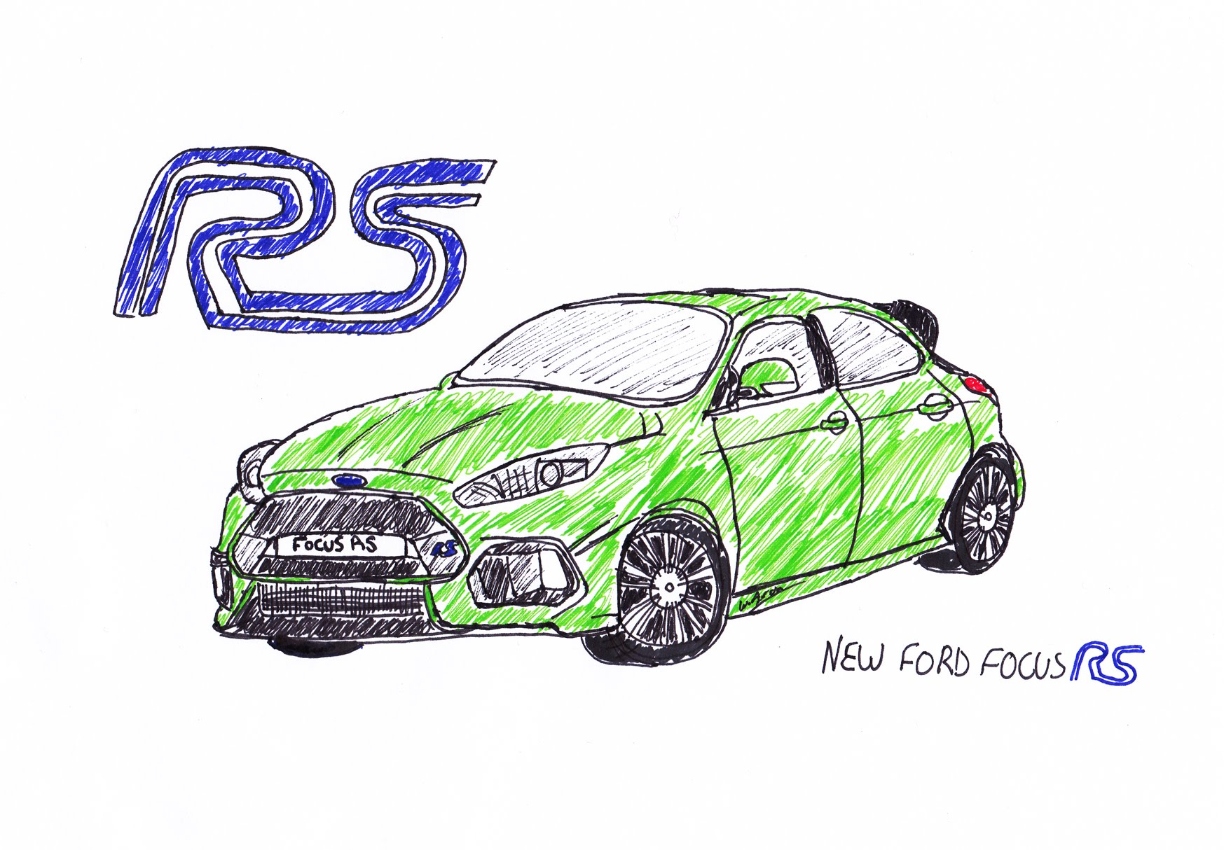 1747x1214 DRAWING THE NEW FORD FOCUS RS