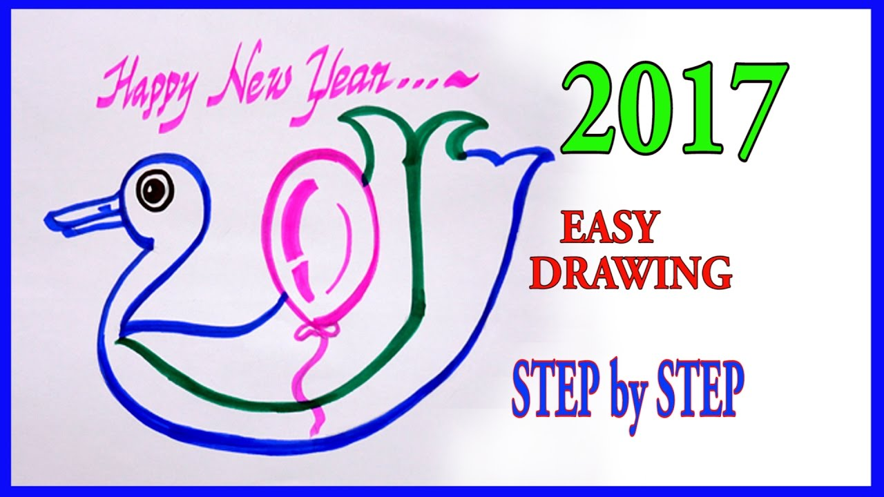 1280x720 2017 Happy New Year Easy Drawing Step By Step Art Tutorials