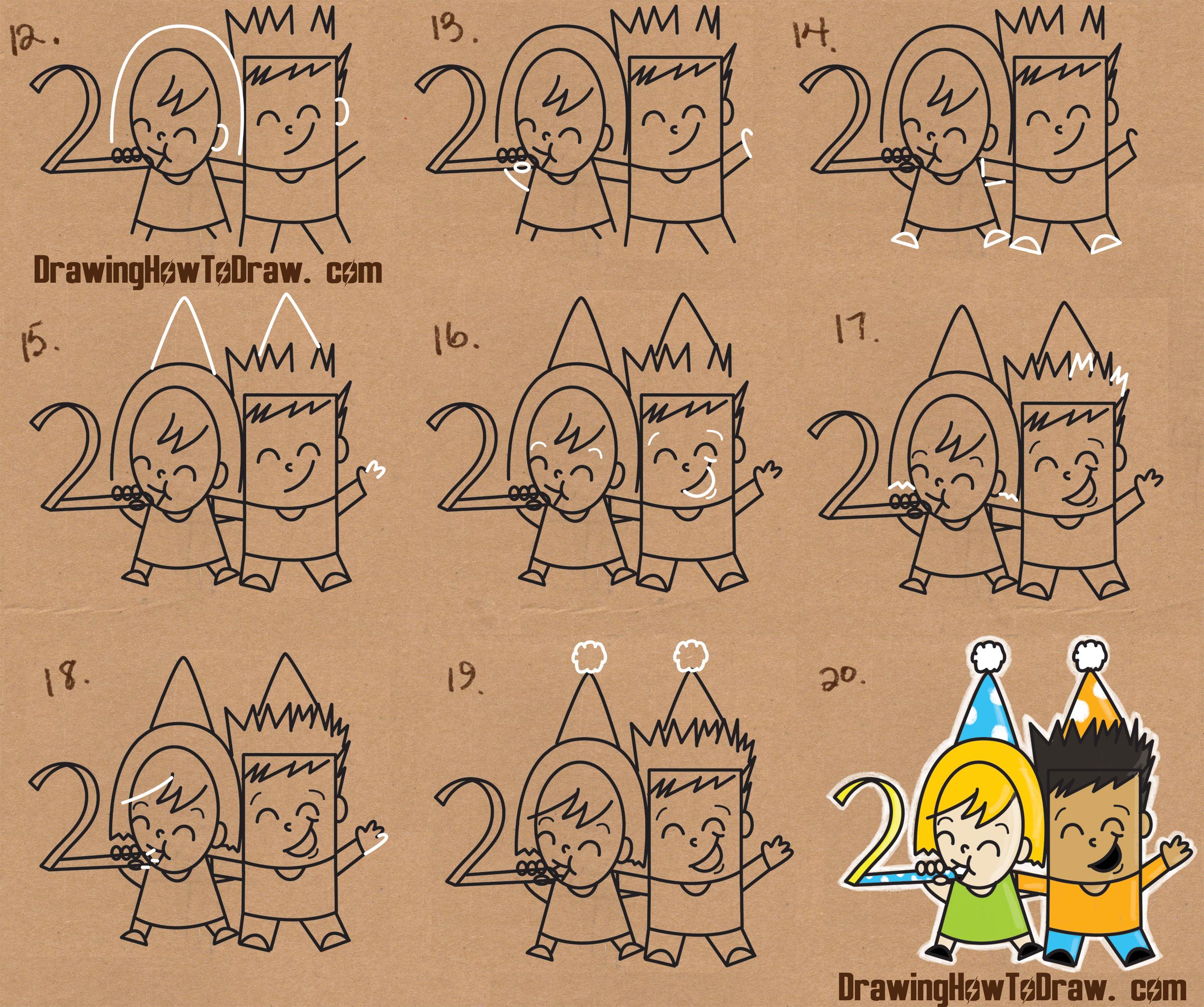 2500x2090 How To Draw New Years Eve New Year Word Cartoon Art Of Kids