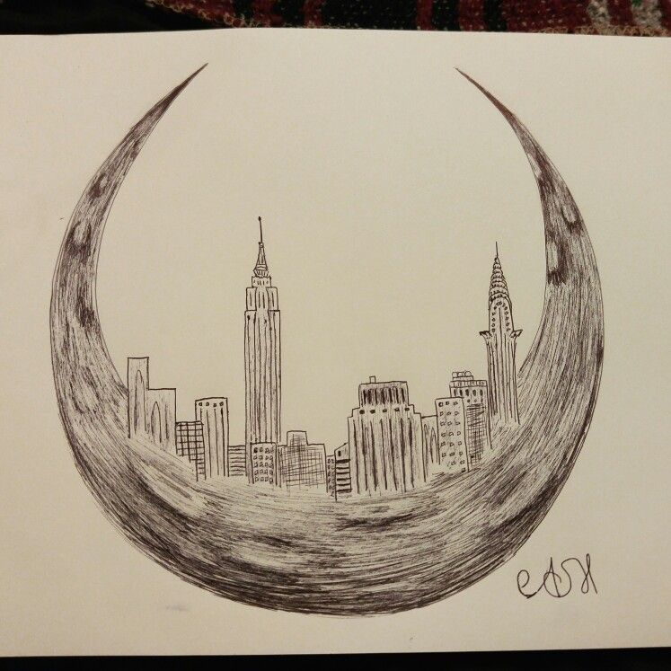 747x747 Crescent Moon And New York Skyline Drawing My Art
