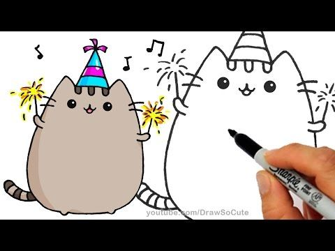 480x360 How To Draw Pusheen Cat For New Years Celebration Step By Step