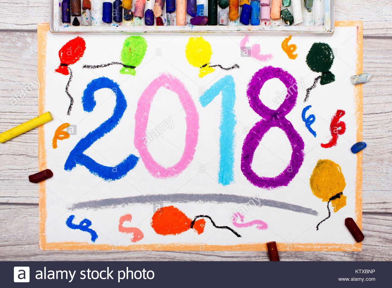 1300x956 Photo Of Colorful Drawing New Year Celebration, 2018 Stock Photo