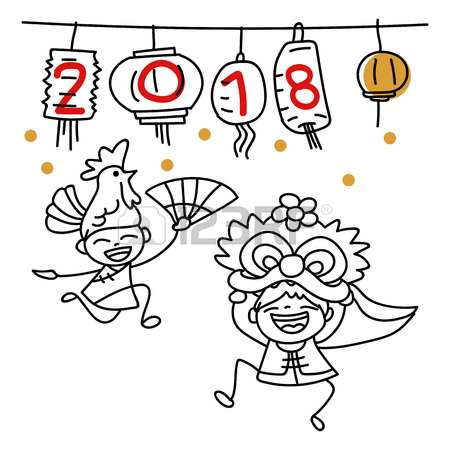 450x450 Hand Drawing Happy Chinese New Year 2018 Background. Lanterns