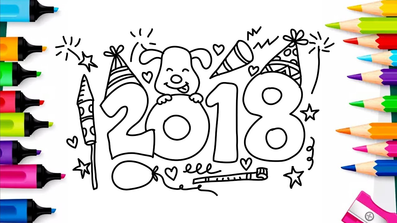 1280x720 Happy New Year 2018 Coloring Pages Drawing For Kids Art