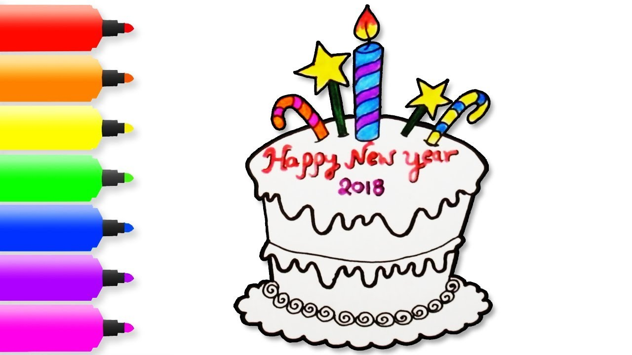 1280x720 Happy New Year 2018 Coloring Pages Drawing For Kids How