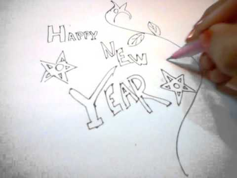 480x360 How To Draw Happy New Year Card