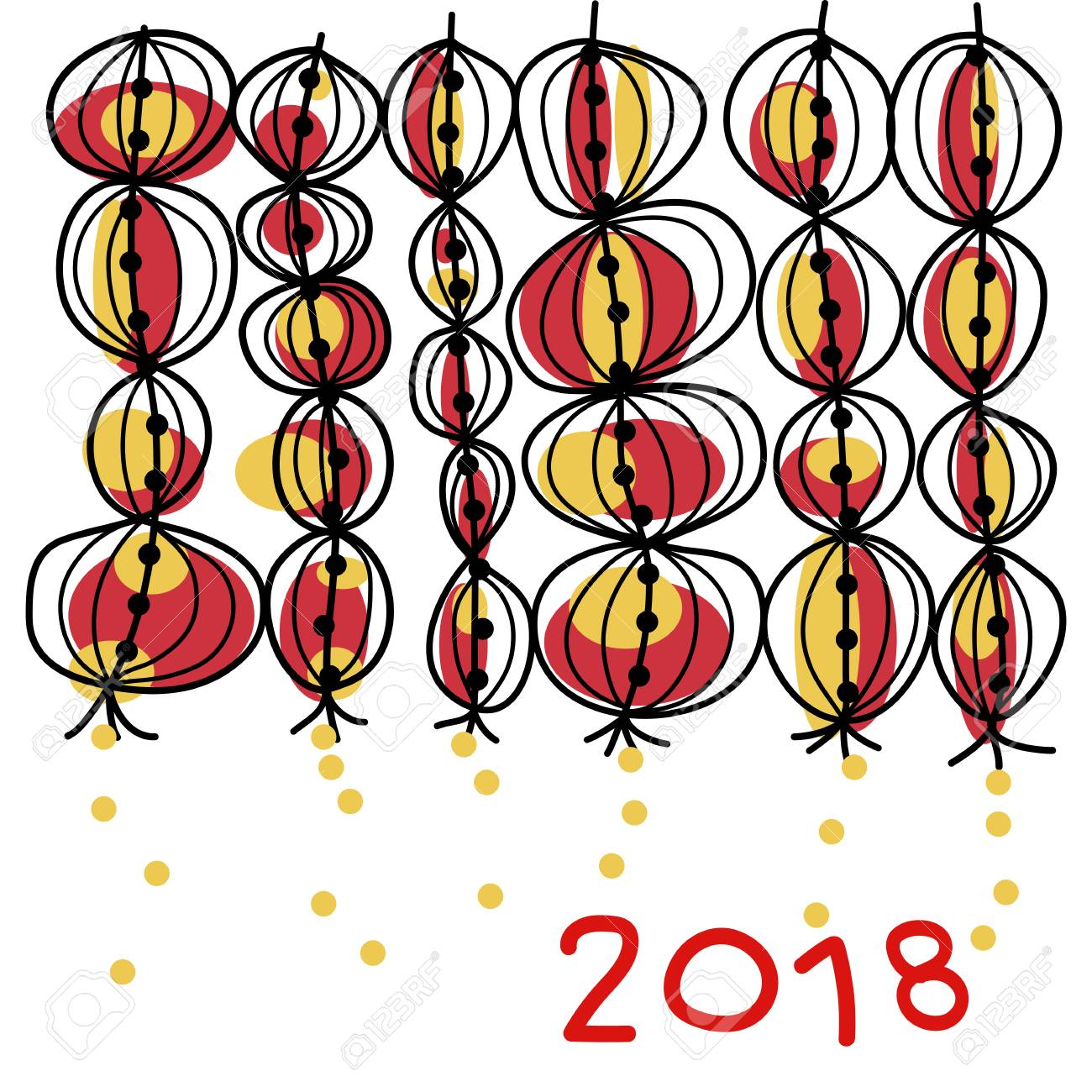 1300x1300 Hand Drawing Happy Chinese New Year 2018 Background. Lanterns